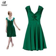 ROLECOS la la land Emma Stone Mia Cosplay Costume Green Backless Beauty Women Long Dresses V-neck Style Cosplay Costumes