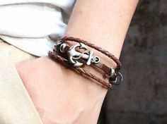 $4.00 - Genuine Leather Men's Anchor Bracelet – Free Shipping