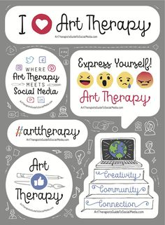 The Art Therapist's Guide to Social Media Sticker Sheets! Art Therapy Projects, Therapy Ideas, Mental Health Art, Social Media Art, School Social Work, Interactive Cards, Psychology Books, Expressive Art, Breakfast For Kids