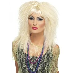 Long Blonde Crimp Wig with Layers and a Fringe. Blonde Crimp Wig by Smiffy's Wig Cap Nude Breathable Essential Accessory for Fancy Dress Wigs Ladies Fancy Dress. 1980s Fancy Dress, Fancy Dress Wigs, Wholesale Halloween Costumes, Halloween Wigs, Adult Halloween, Fancy Dress Accessories, Costume Accessories, Celebrity Fancy Dress, Makeup