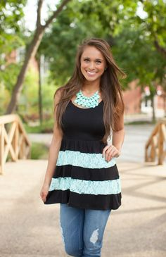 The Pink Lily Boutique - Ruffle It Up Mint and Black Tunic Tank, $32.00 (http://thepinklilyboutique.com/ruffle-it-up-mint-and-black-tunic-tank/)