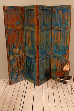 "Antique Multi-Color Indian Pantone Dazzling Blue Four Panel Screen Wood Room Divider Door Headboard $659.11 16"" panels 64""W x 60""T"