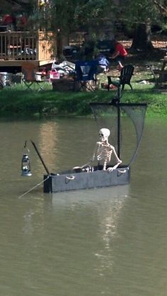 Add a coffin boat in your lake or pool this Halloween.