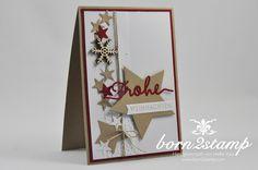 born2stamp STAMPIN' UP! Weihnachtskarte - Flockenzauber - Thinlits Weihnachtliche Worte - Sterne
