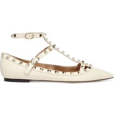 Valentino Rockstud textured-leather flats ($875) ❤ liked on Polyvore featuring shoes, flats, sapatos, white, white shoes, embellished flats, flat shoes, white pointy toe flats and pointed-toe flats