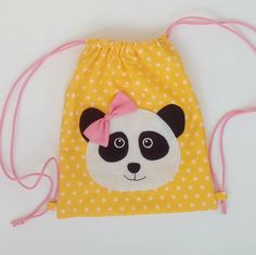 Items similar to Drawstring backpack, kids backpack, panda, kids fashion on Etsy Drawstring Bag Diy, Panda Birthday, Panda Party, Hand Applique, Foam Crafts, Fabric Bags, Girl Backpacks, Girls Bags, Sewing Accessories