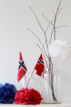 Birch ♡ Pom Poms ♡ 17. mai ♡ Norway ♡ 70th Birthday, Birthday Parties, Norway National Day, Sons Of Norway, Birthday Party Decorations, Table Decorations, Constitution Day, Banner
