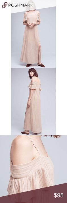 "Anthropologie MoonRiver cold shoulder dress size S Polyester, linen; rayon lining. Maxi silhouette. Pullover styling. Regular falls 60"" from shoulder. Petite falls 56"" from shoulder. Color: pink/cream Anthropologie Dresses Maxi"