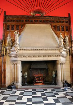 A huge fireplace in a red room Fireplace Mantles, Fireplace Ideas, Red Rooms, Hearth, House Colors, Fire Places, Flooring, Masquerade Ball, Guest Rooms