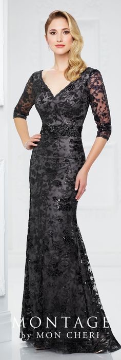 Formal Evening Gowns by Mon Cheri - Fall 2017 - Style No. 217932 - metallic embroidery fit and flare black evening dress with 3/4 length sleeves