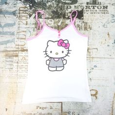 Hello Kitty Juniors Women/'s Top Large White Tank Adjustable Strap Sleepwear