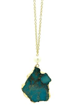Stone Teal Pendant Chain Necklace