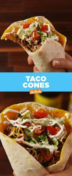 Taco Cones Delish (Use LC tortillas) Make Taco Seasoning, Mexican Food Recipes, Ethnic Recipes, Mexican Meals, Burger Recipes, Mexican Dishes, How To Make Taco, Dinner Tonight, Food For Thought