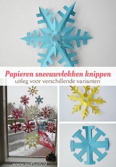 Uitleg mooie papieren sneeuwvlokken knippen van een vouwblaadje. Voor een simpele variant, één met 8 punten en één met 6 punten. Leuke winterse versiering.