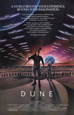 Film was directed by David Lynch and featured Patrick Stewart, Kyle MacLachlan, and Max Von Sydow. Film Science Fiction, Fiction Movies, Sf Movies, Imdb Movies, Cult Movies, 1984 Movie, Movie Tv, Cinema Posters, Film Posters