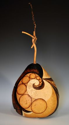 Large Pyrographed and Carved Decorative Gourd by NessysNest, $300.00