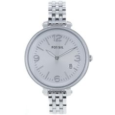Fossil Women's ES3129 Stainless Steel Analog Silver Dial Watch Fossil. $107.85. Stainless steel case. Quartz movement. Scratch resistant mineral. Case diameter: 42 mm. Water-resistant to 50 M (165 feet). Save 20%!