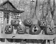 Vintage Halloween. The simplicity of these jack-o-lanterns and their faces is what makes them creepy.