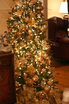 Fancy Gold Christmas Tree My Christmas Holiday Decor and more…