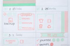 Pretty Planners: Decorated week on one page spread using a combination of stamps and planner stickers by Label Me Merrit