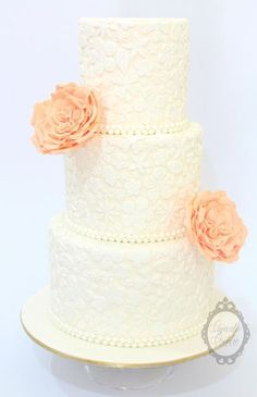Lace, pearls and David Austen rose cake by Cupcake Couture Davao