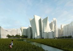 Swiss-based architect Christian Kerez has presented plans for a new cultural district to be developed in the Chinese city of Guangzhou. Positioned at the southern end of the region's urban axis, the project fuses together natural elements and typologies to form a public retreat away from the hectic and chaotic environment of the urban centre.