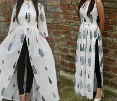 ફ્રન્ટ અને સાઇડ સ્લિટ્સ બંને પ્રકારના કૂર્તા સારા લાગશે. આની સાથે હિલ્સ કૅરી કરો. તમે તેને હાઇ-વેસ્ટ પેન્ટ્સ અથવા લેગિંગ્સની સાથે પહેરી શકો છો. Frock Fashion, Indian Fashion Dresses, Indian Gowns Dresses, Dress Indian Style, Indian Designer Outfits, Silk Kurti Designs, Kurta Designs Women, Kurti Designs Party Wear, Blouse Designs