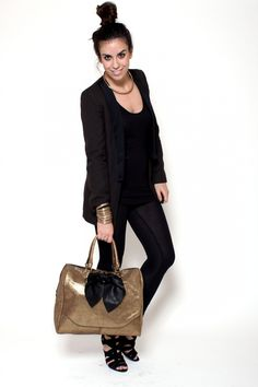https://www.cityblis.com/4497/item/7759  Glod Popins - $323 by Les Envers  Glitter Popins in leather, contrasts, stitching are black color.   MEASURES: Depth: 20 cm  Height: 30 cm Width: 40 cm Handle height: 18 cm   Lining in black canvas . inside pocket and phone case are in leather.   ART-CRAFT MADE!  Limited Editions MADE IN ITALY