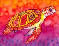 Tortuga en patrones tribales en  violeta, amarillo, naranja, rojo, y Magenta - PaintMyWorldRainbow