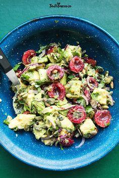 Cherry and avocado salad Avocado Salad, Sprouts, Potato Salad, Chili, Salads, Cherry, Lunch Box, Potatoes, Vegan