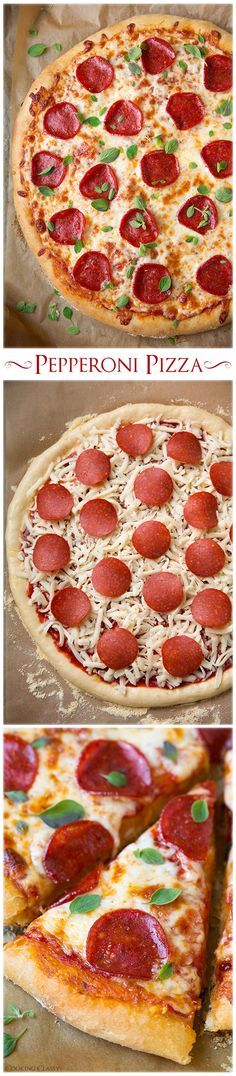 Pepperoni Pizza including recipes for the best homemade pizza dough and pizza sauce!