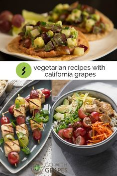 Try these three vegetarian recipes with California grapes for meatless lunch or dinner options that are just as flavorful as they are colorful.  California grapes are the perfect ingredient to add a sweet burst of flavor to the fresh vegetables in these recipes.  Go with grapes from California on Meatless Monday and every other day. #vegetarian #vegetarianrecipes #vegetables #plantbased #colorful #flavorful #cleaneating #healthyeating #healthyliving #allnatural #meatlessmeals Grape Recipes, Fall Recipes, Summer Recipes, California Food, Grape Salad, Clean Eating, Healthy Eating, Fresh Vegetables, Veggies