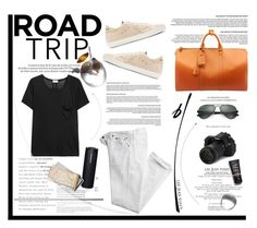 """""""Summer Road Trip Essentials"""" by krischigo ❤ liked on Polyvore featuring Eos, Polo Ralph Lauren, Yves Saint Laurent, Golden Goose, Ray-Ban, Louis Vuitton and roadtrip"""