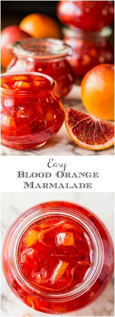 Easy Blood Orange Marmalade - with only 15 minutes of hands-on time, this delicious, not-too-bitter, marmalade brings a little sunshine to the breakfast t. Jam And Jelly, Jelly Recipes, Orange Recipes, Kumquat Recipes, Le Diner, Canning Recipes, Canning Tips, Vegetable Drinks, Sauces