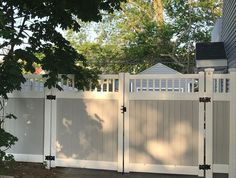 44 backyard fence ideas beautiful privacy fence for people, pets, and property 1 Driveway Design, Gates And Railings, Vinyl Privacy Fence, White Vinyl Fence, Family Backyard, Property, Pvc Fence, Driveway Entrance, Fence Design