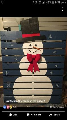 These pallet Christmas projects will help you deck your halls on a budget! From Bible quotes to snowmen, you're sure to find a project that you adore. Pallet Christmas Tree, Christmas Wood Crafts, Christmas Art, Christmas Projects, Holiday Crafts, Christmas Ornaments, Christmas Ideas, Christmas Parties, Christmas Recipes