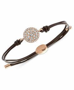 Fossil Bracelet, Rose Gold-Tone Glitz Disc Bracelet