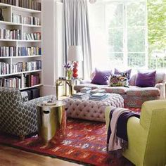 colors, books, pillows, window...  room for conversation or quiet.  lovin' it.