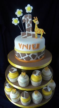Giraffe Cake and Cupcake Tower....I would do boy colors of course.