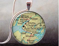 Anchorage vintage map pendant, Alaska map necklace resin pendant, photo pendant