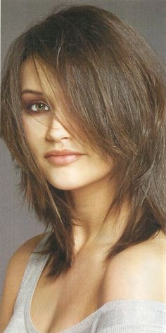 shoulder length hairstyles | Shoulder Length Shag Hairstyle Very Cute Brunette Choppy Layered