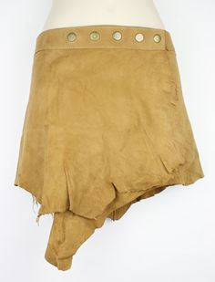 Suede leather mini skirt - size: 28