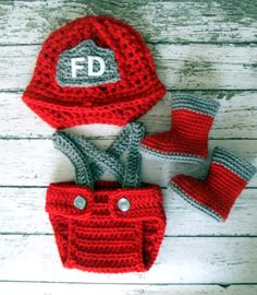 Firefighter Helmet in Red, Gray and White with Matching Boots and Diaper Cover in 0-3 Month Size- MADE TO ORDER. $58.00, via Etsy.
