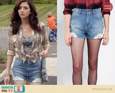 Maggie's denim shorts with lace applique and plaid tie front shirt on The Carrie Diaries. Outfit Details: http://wornontv.net/21726 #TheCarrieDiaries