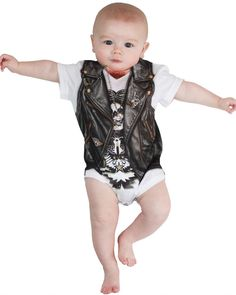This baby was born bad to the bone! This Infant Biker Baby T-Shirt Costume is perfect for little biker babies! Baby Halloween Costumes Newborn, Diy Halloween Costumes For Kids, Boy Costumes, T Shirt Costumes, Motorcycle Baby, Biker Baby, Biker Vest, Vintage Clothing Stores, 1 Piece