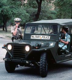 Ca. 1985 photo of U.S. Army military policemen on patrol in their M151 .