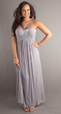 Wide Strap Silver Chiffon Semi Formal Dress Long Empire Waist