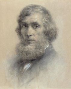 """""""Portrait of Asher B. Durand,"""" Samuel Worcester Rowse (attributed), 1857, black chalk, heightened with white on buff paper, 20 1/2 x 16 7/8"""", Museum of Fine Arts, Boston. Hudson River School, Charcoal Drawings, White Chalk, Favorite Words, Romanticism, Worcester, Museum Of Fine Arts, American Artists, Landscape Art"""