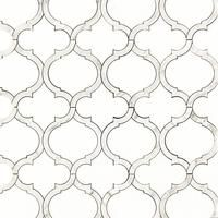 White Thassos & Carrara Marble Arabesque Marrakesh Waterjet Luxury Mosaic Tile