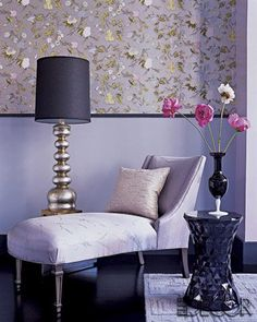 interior design, floor lamps, living rooms, table lamps, chaise lounges, living room ideas, family rooms, purple rooms, design blogs